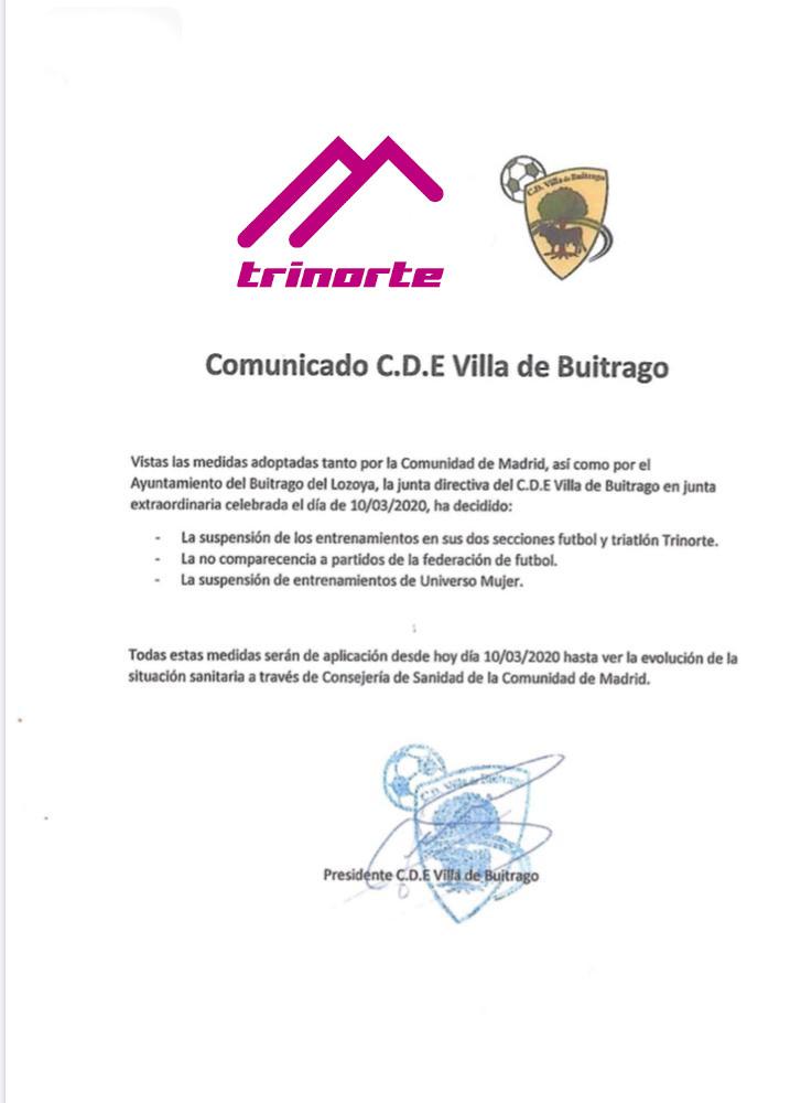 Comunicado CDE Villa de Buitrago «trinorte»
